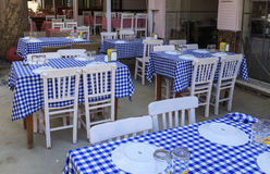 ISTANBUL, TURKEY, AUGUST 24, 2015: Empty tables Royalty Free Stock Image