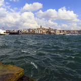 ISTANBUL, TURKEY - AUGUST 24,2015:Galata Tower with sea water. Royalty Free Stock Images