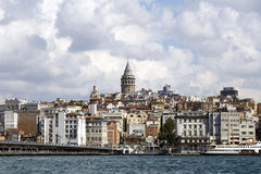 ISTANBUL, TURKEY - AUGUST 24,2015: Galata Tower in sunny day. Royalty Free Stock Photography