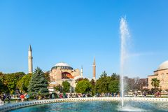 Istanbul, Turkey - August, 2018: Hagia Sophia Ayasofya museum with fountain in the Sultanahmet Park in Istanbul, Turkey during stock images