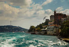 ISTANBUL, TURKEY - August 3, 2015: Home on the coast of the Bosphorus. A boat trip on the Bosphorus. Stock Photo