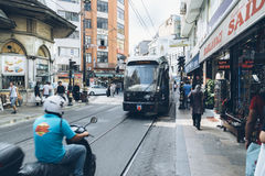 ISTANBUL, TURKEY - August 22 ,2015: Modern black tramway - Istan Royalty Free Stock Photo