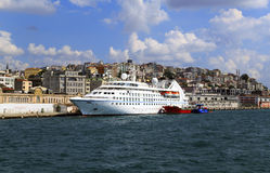 ISTANBUL, TURKEY - August 24 ,2015: Modern ship in Golden Horn bay. Royalty Free Stock Image
