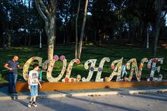 People among big letters of name of Park Gulhane royalty free stock photography