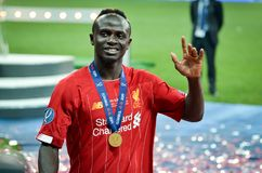 Istanbul, Turkey - August 14, 2019: Sadio Mane player during the UEFA Super Cup Finals match between Liverpool and Chelsea at