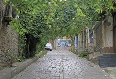 Scenery cobblestone street in center of Istanbul. Istanbul, Turkey - August 9, 2017: scenery cobblestone street in center of Istanbul, Turkey royalty free stock photos