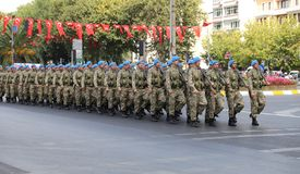 30 August Turkish Victory Day. ISTANBUL, TURKEY - AUGUST 30, 2018: Soldiers march during 96th anniversary of 30 August Turkish Victory Day parade on Vatan Avenue stock photos