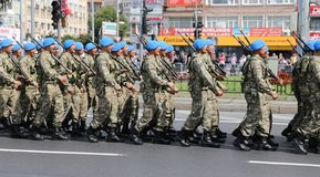 30 August Turkish Victory Day. ISTANBUL, TURKEY - AUGUST 30, 2018: Soldiers march during 96th anniversary of 30 August Turkish Victory Day parade on Vatan Avenue stock photography