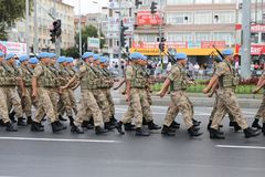 30 August Turkish Victory Day. ISTANBUL, TURKEY - AUGUST 30, 2018: Soldiers march during 96th anniversary of 30 August Turkish Victory Day parade on Vatan Avenue stock photo