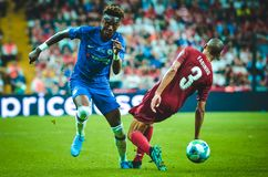 Istanbul, Turkey - August 14, 2019: Tammy Abraham and Fabinho during the UEFA Super Cup Finals match between Liverpool and Chelsea
