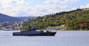 ISTANBUL, TURKEY, AUGUST 24, 2015: Turkey Military boat. Royalty Free Stock Image