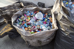 ISTANBUL, TURKEY - August 23, 2015: Used crushed beverage cans Stock Images