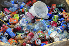 ISTANBUL, TURKEY - August 23, 2015: Used crushed beverage cans Royalty Free Stock Images