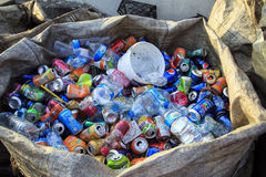 ISTANBUL, TURKEY - August 23, 2015: Used crushed beverage cans a Stock Image