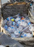 ISTANBUL, TURKEY - August 23, 2015: Used crushed water plastic bottles Royalty Free Stock Photos