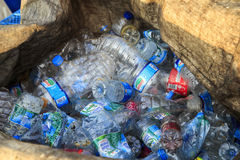 ISTANBUL, TURKEY - August 23, 2015: Used crushed water plastic Stock Image