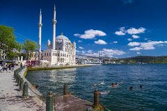 Ortakoy, Istanbul, Turkey. Istanbul, Turkey - August 25, 2017: View from Ortakoy coast by the Bosphorus, Istanbul. Some people swimming in the sea on a hot Royalty Free Stock Image