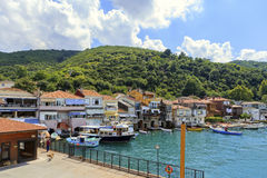 ISTANBUL, TURKEY, AUGUST 24, 2015: View over marina in kavagi vi Royalty Free Stock Images