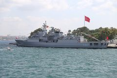 30 August Turkish Victory Day. ISTANBUL, TURKEY - AUGUST 30, 2018: War Ship during 96th anniversary of 30 August Turkish Victory Day stock image