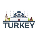 Istanbul. Turkey. Blue Mosque. Tourism. Travelling illustration. Modern flat design. Turkey travel. Royalty Free Stock Photography