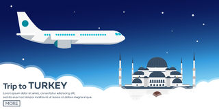 Istanbul. Turkey. Blue Mosque. Tourism. Travelling illustration. Modern flat design. Turkey travel. Stock Photos