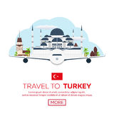 Istanbul. Turkey. Blue Mosque. Tourism. Travelling illustration. Modern flat design. Turkey travel. Royalty Free Stock Photos