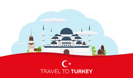 Istanbul. Turkey. Blue Mosque. Tourism. Travelling illustration. Modern flat design. Turkey travel. Stock Images