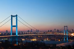 Istanbul Bosphorus Bridge at night Stock Image