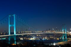 Istanbul Bosphorus Bridge at night Royalty Free Stock Images