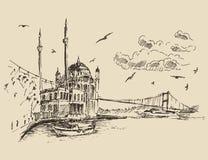 Istanbul, Turkey, City, Bosphorus Vintage Engraved Stock Image