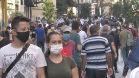 Istanbul / Turkey - 08-05-2020  corona virus. covid 19. new normal life istanbul. crowded street. masked people. Street walking, s