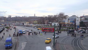 Istanbul Turkey Crossroads Fast Forward. Istanbul, Turkey – January 18, 2014: Cars, light rail and people at Sirkeci crossroad in the largest city of Europe stock footage