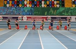 Turkish Athletic Federation Indoor Athletics Record Attempt Race. ISTANBUL, TURKEY - DECEMBER 23, 2017: Athletes running 60 meters during Turkish Athletic Stock Images