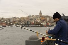 Istanbul, Turkey-December 12, 2015 -A close-up of a Turkish fish. Erman dressed in a blue winter jacket and a black hat against the backdrop of Istanbul Royalty Free Stock Photo