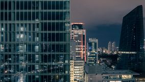 Commercial buildings of Levent, business and finance area at night, Istanbul Royalty Free Stock Photo