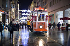 ISTANBUL, TURKEY - December 29: Taksim Istiklal Street at night on December 29. 2010. in Istanbul, Turkey. Taksim Istiklali Street Royalty Free Stock Photo