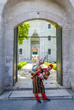 Istanbul, Turkey. drink peddler in national costume fills the glass on the background of the gate Suleymaniye Mosque Royalty Free Stock Photo