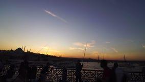 Istanbul Turkey Eminonu Coastline. Sunset Scene with mosque minaret stock footage