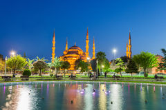 Istanbul, Turkey. Evening in the park with view of the Blue Mosque, Istanbul Turkey royalty free stock photos