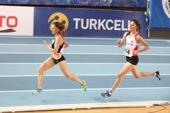 Balkan Athletics Indoor Championships. ISTANBUL, TURKEY - FEBRUARY 17, 2018: Athletes running during Balkan Athletics Indoor Championships Royalty Free Stock Photo