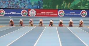 Balkan Athletics Indoor Championships. ISTANBUL, TURKEY - FEBRUARY 17, 2018: Athletes running 60 metres during Balkan Athletics Indoor Championships Stock Photos