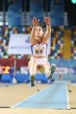 Balkan Athletics Indoor Championships. ISTANBUL, TURKEY - FEBRUARY 17, 2018: Undefined athlete long jumping during Balkan Athletics Indoor Championships Royalty Free Stock Photo