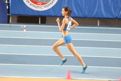Balkan Athletics Indoor Championships. ISTANBUL, TURKEY - FEBRUARY 17, 2018: Undefined athlete running during Balkan Athletics Indoor Championships Stock Photo