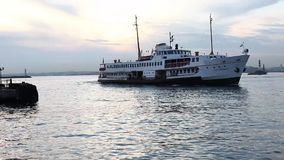 ISTANBUL, TURKEY  Ferryboat, taking passengers and going to the Asian side in Eminonu Seaside Stock Images