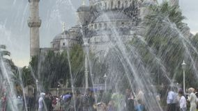 Istanbul Turkey fountain. Istanbul Turkey looking though fountain stock video