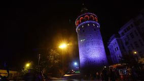 Istanbul Turkey Galata Tower. Night Scene stock video