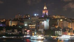 Istanbul Turkey Galata Tower. Night Scene stock video footage