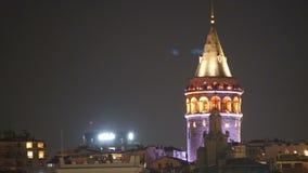 Istanbul Turkey Galata Tower. Night Scene stock footage