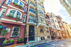 Generic architecture and residential buildings in Cihangir stock photo