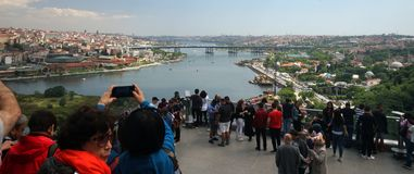 Istanbul, Turkey, and the Golden Horn. A view of the old part of Istanbul, Turkey, with the Golden Horn waterway which leads into the Bosphorus Strait stock photo